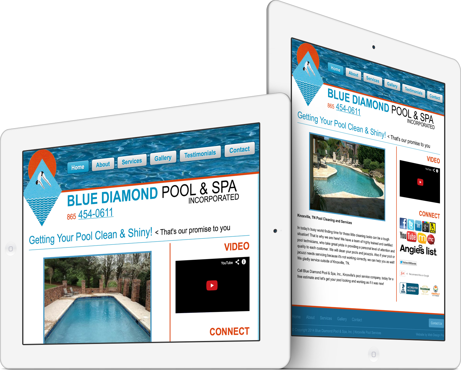 Blue Diamond Pool & Spa on an iPad