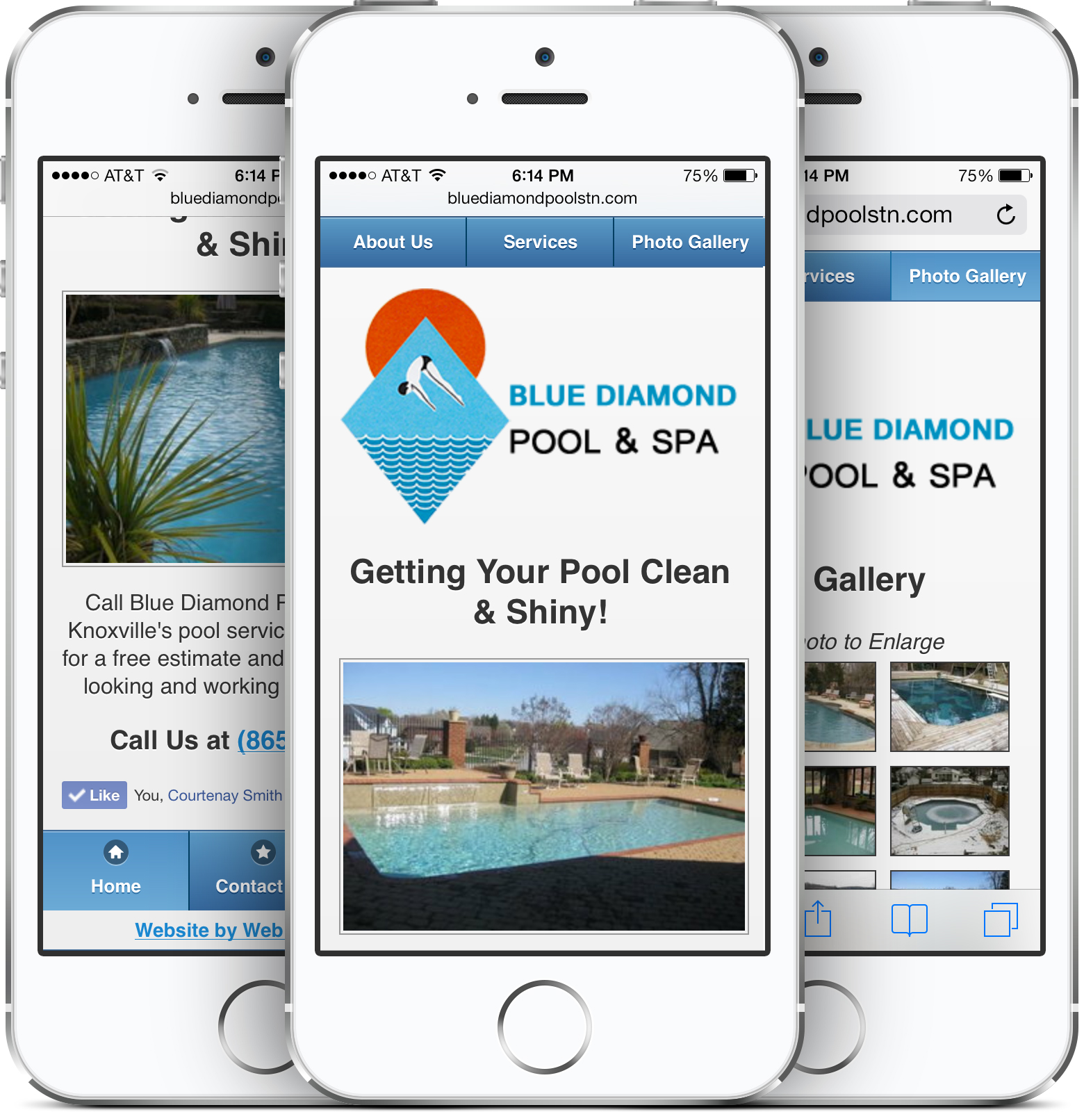 Blue Diamond Pool & Spa on an iPhone