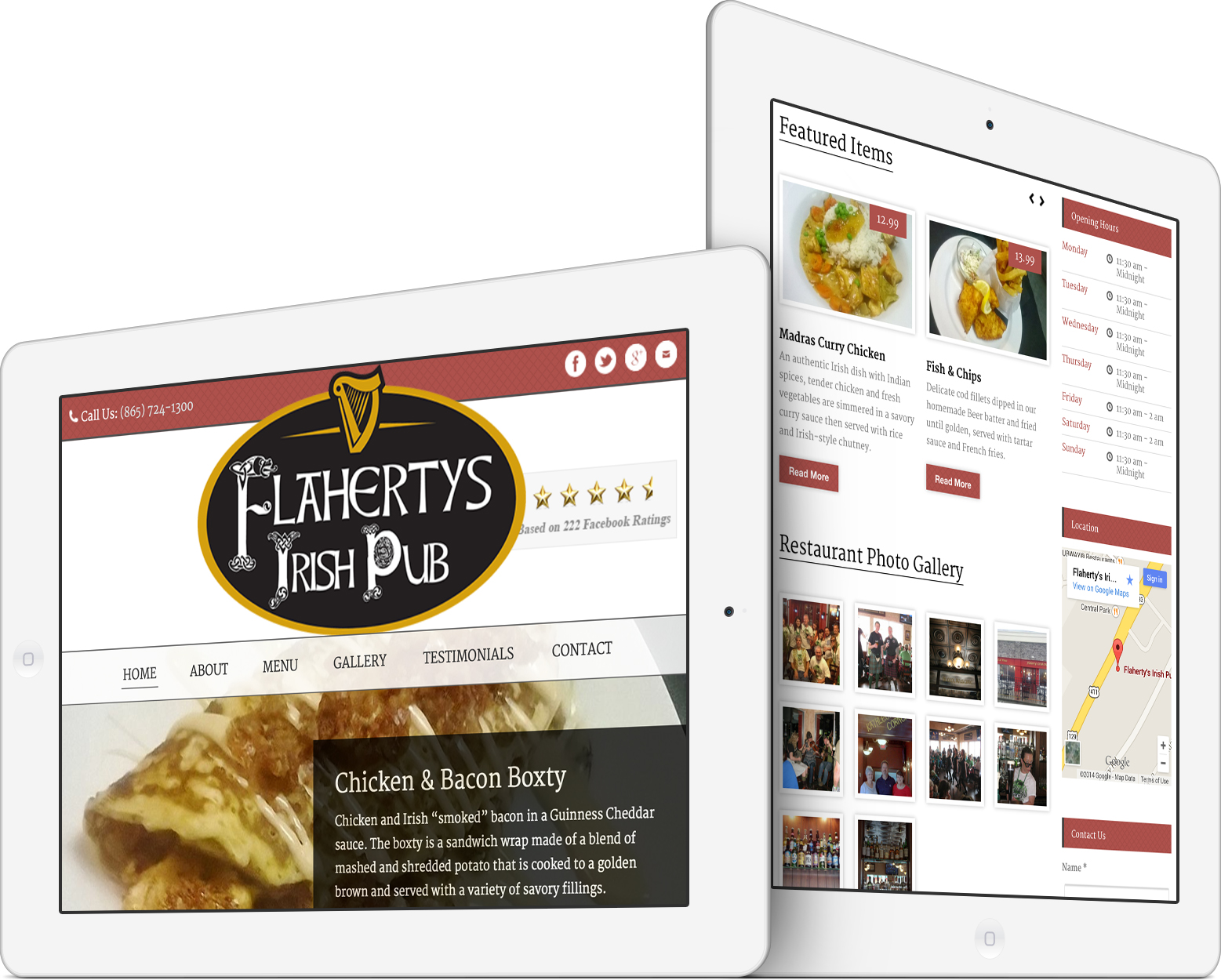 Flaherty's Irish Pub on an iPad