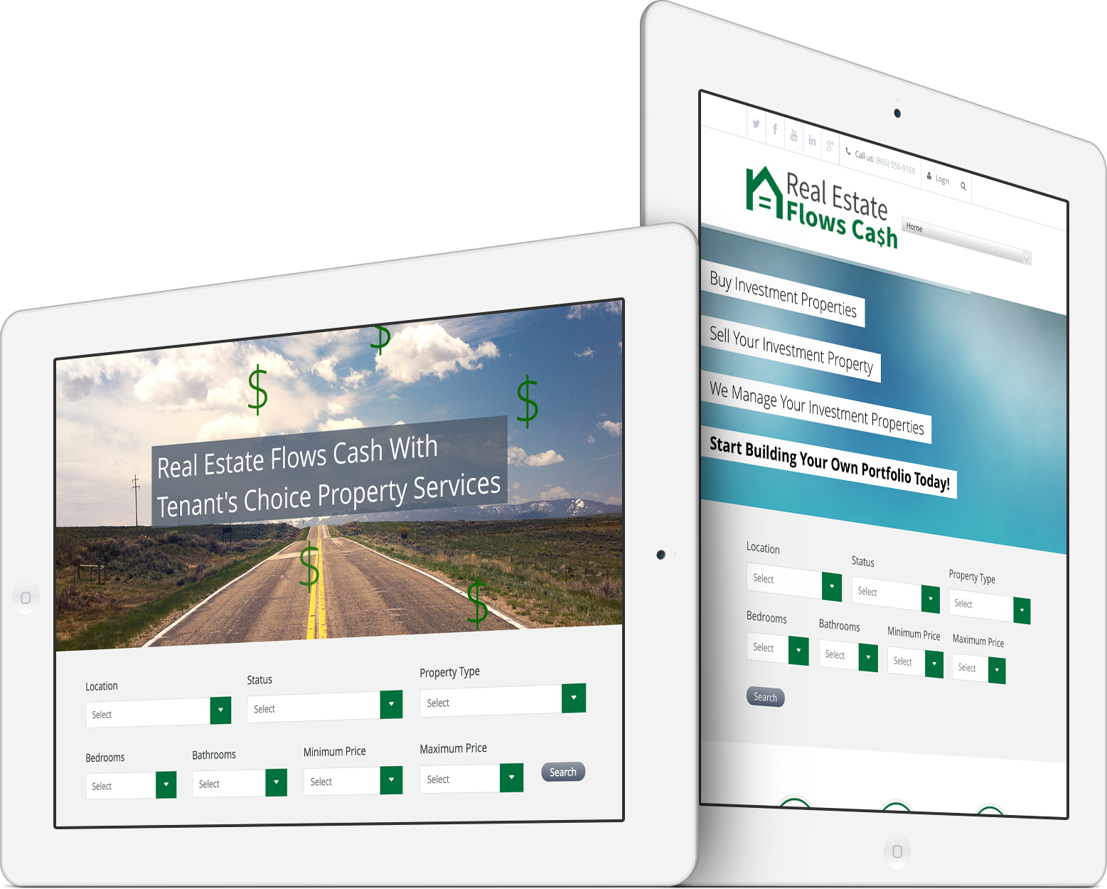 Real Estate Flows Cash Responsive Web Design on an iPad