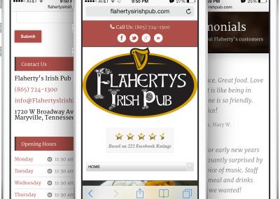 Flaherty's Irish Pub Restaurant Design on an iPhone