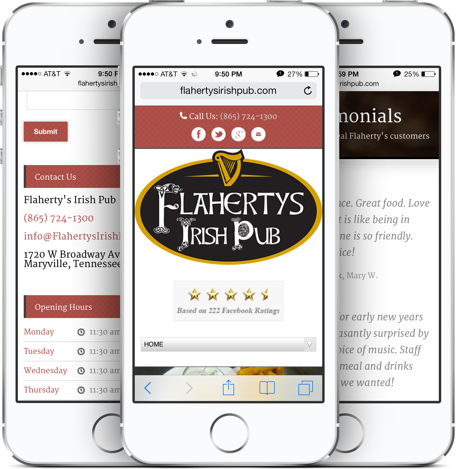 Irish Pub & Sports Grill Restaurant Web Design