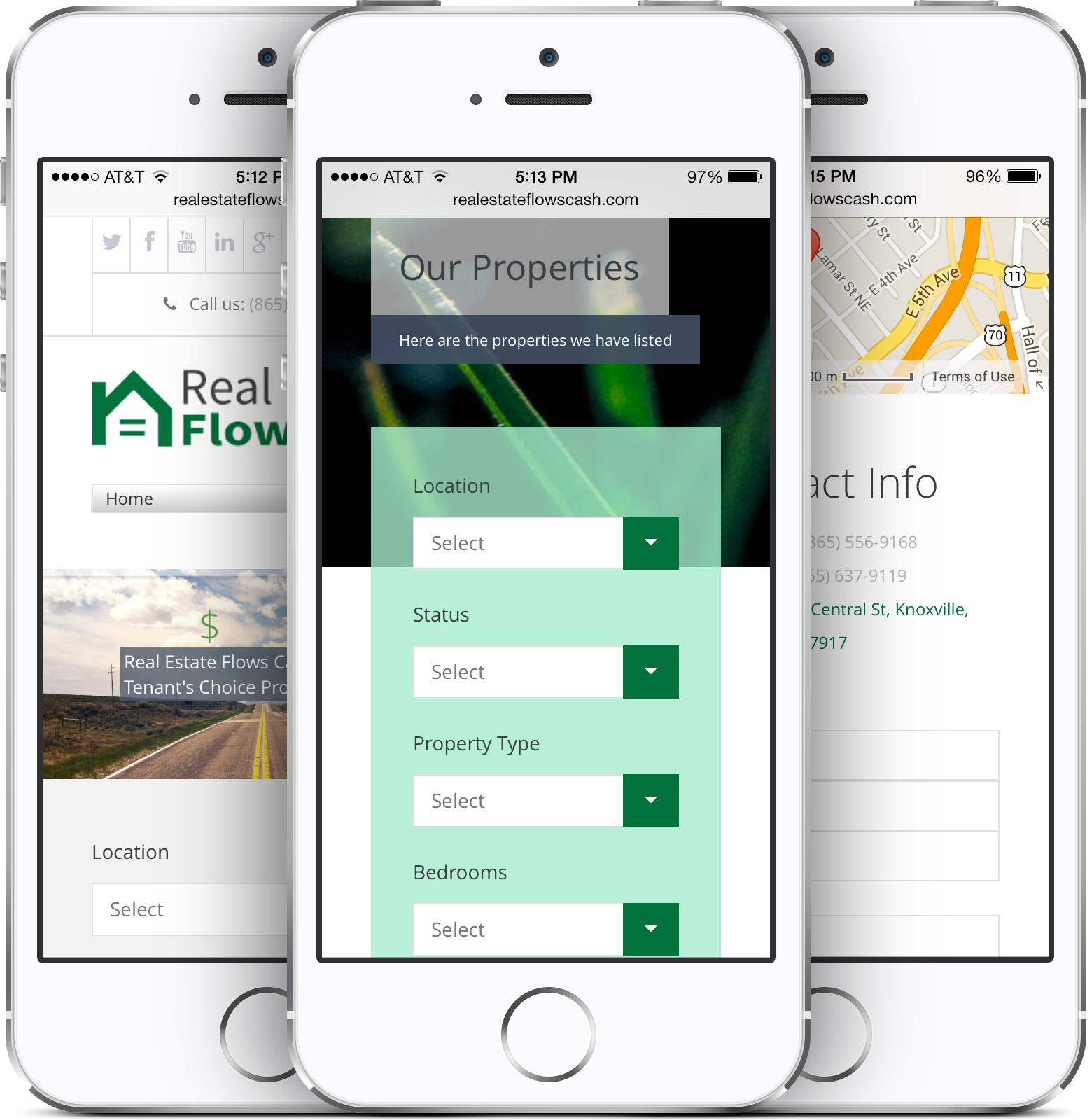 Real Estate Flows Cash Responsive Web Design on an iPhone
