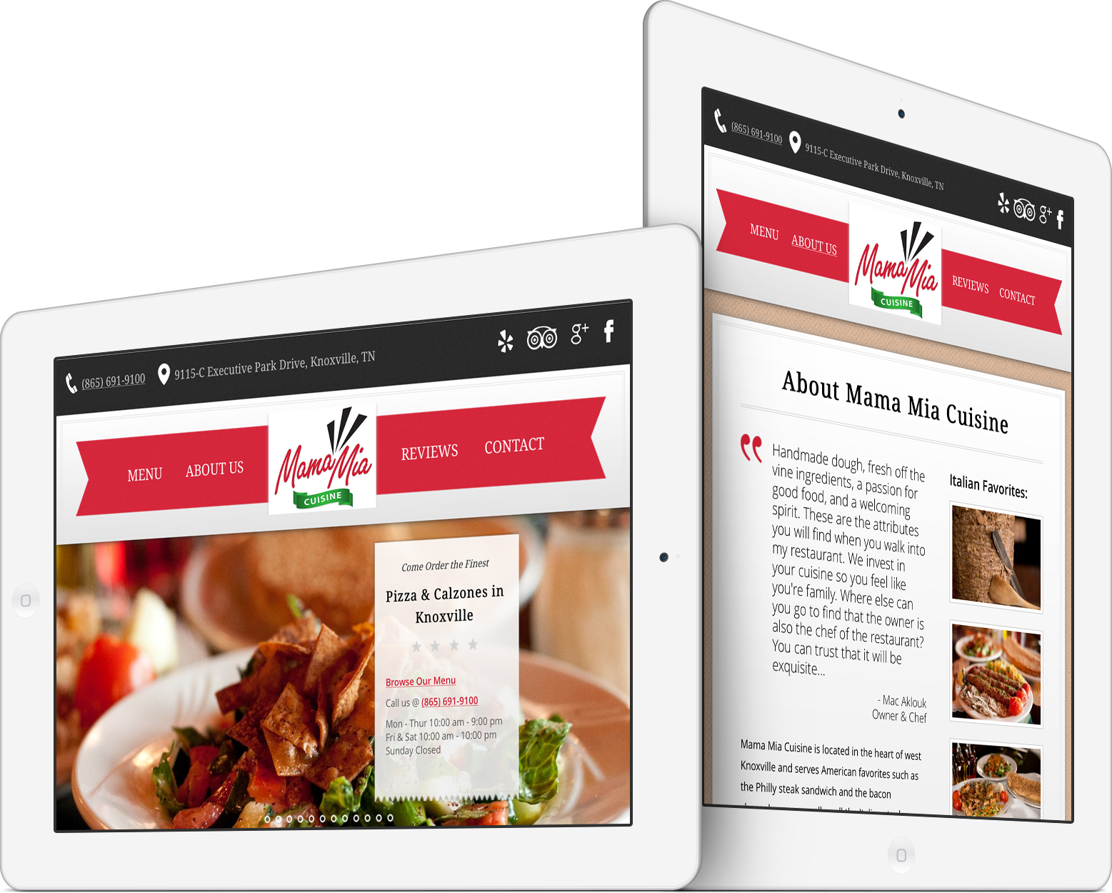 Mama Mia Cuisine Responsive Design on an iPad
