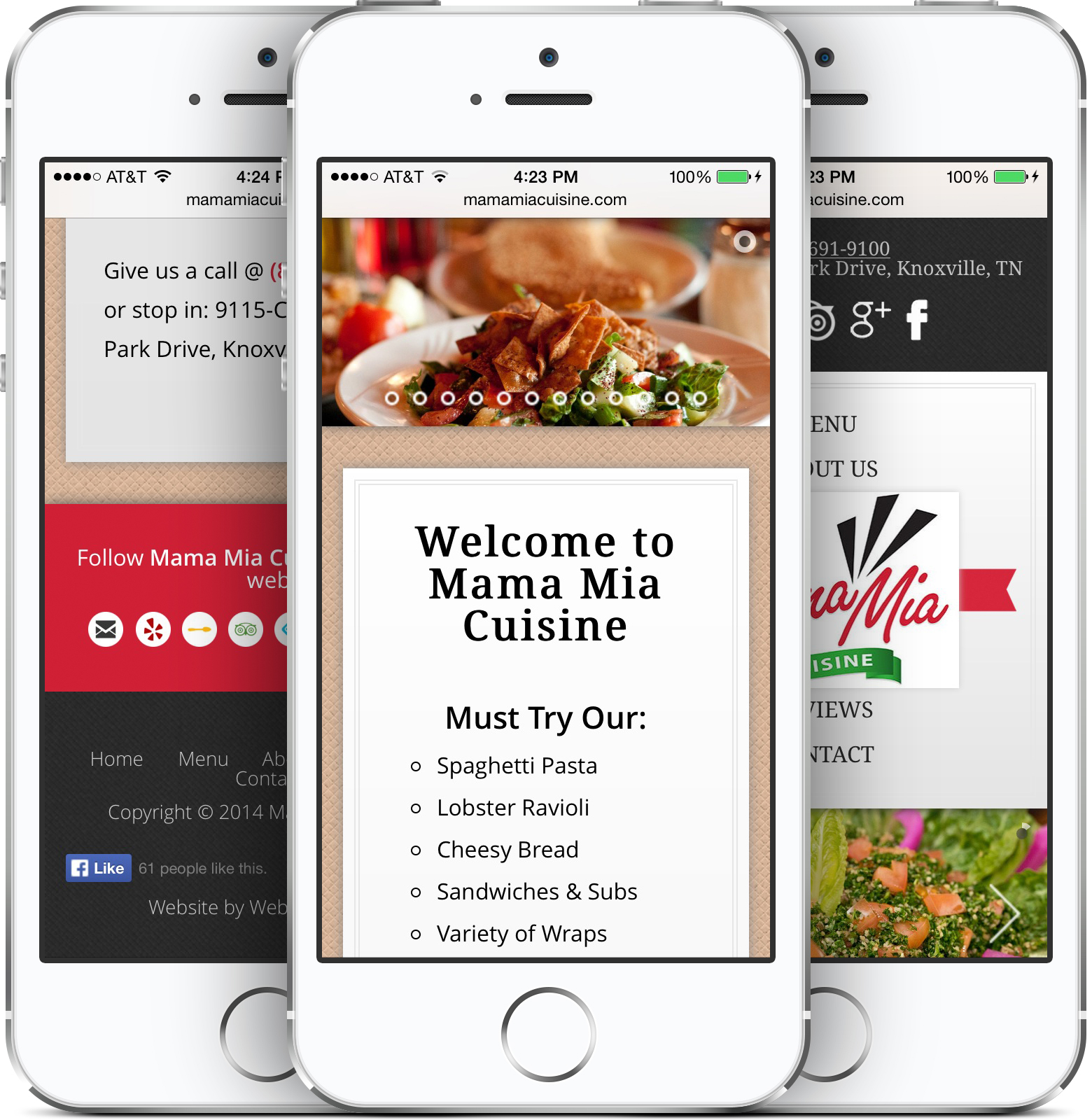 Mama Mia Cuisine Responsive Design on an iPhone
