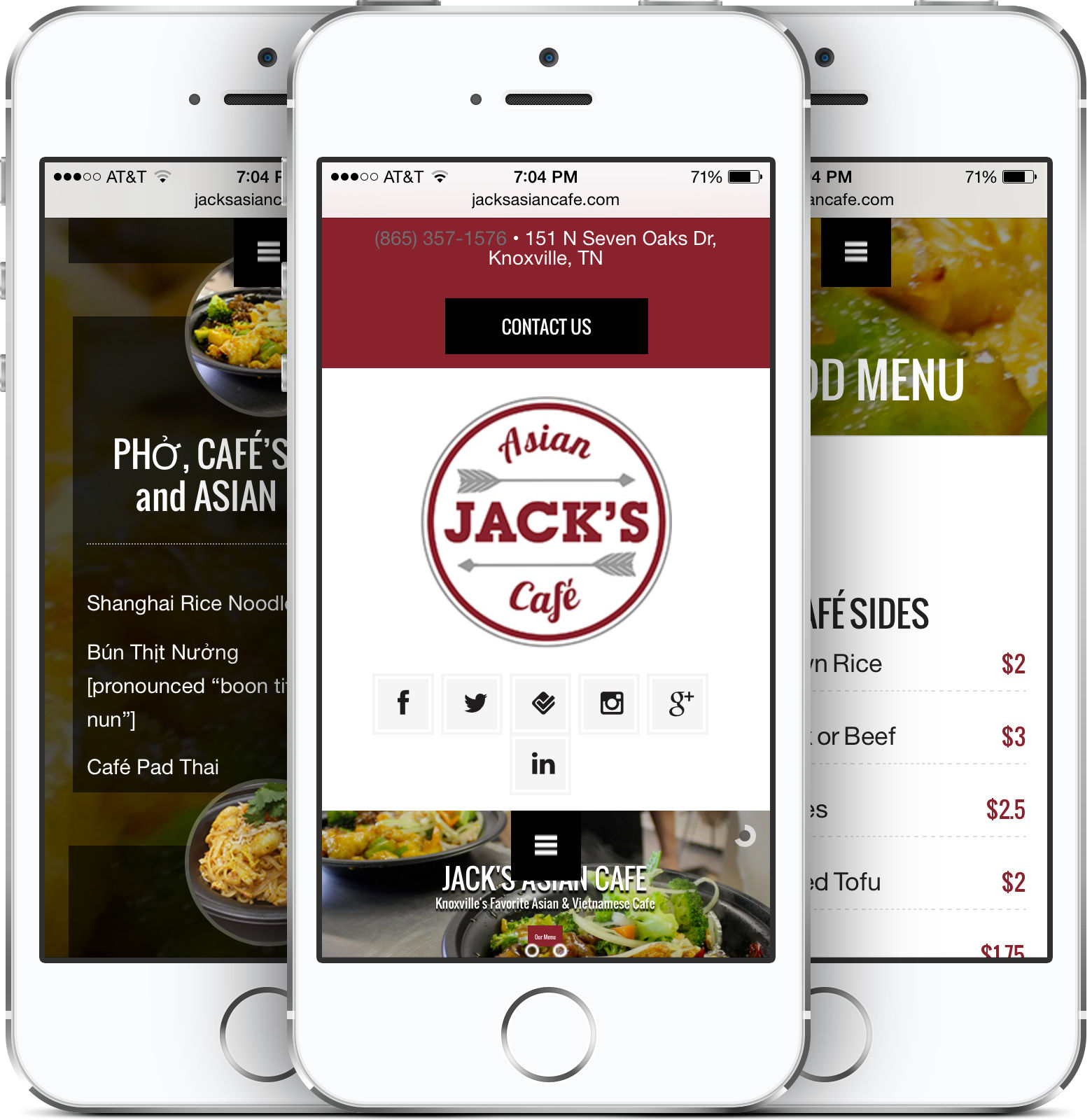 Jack's Asian Cafe on an iPhone
