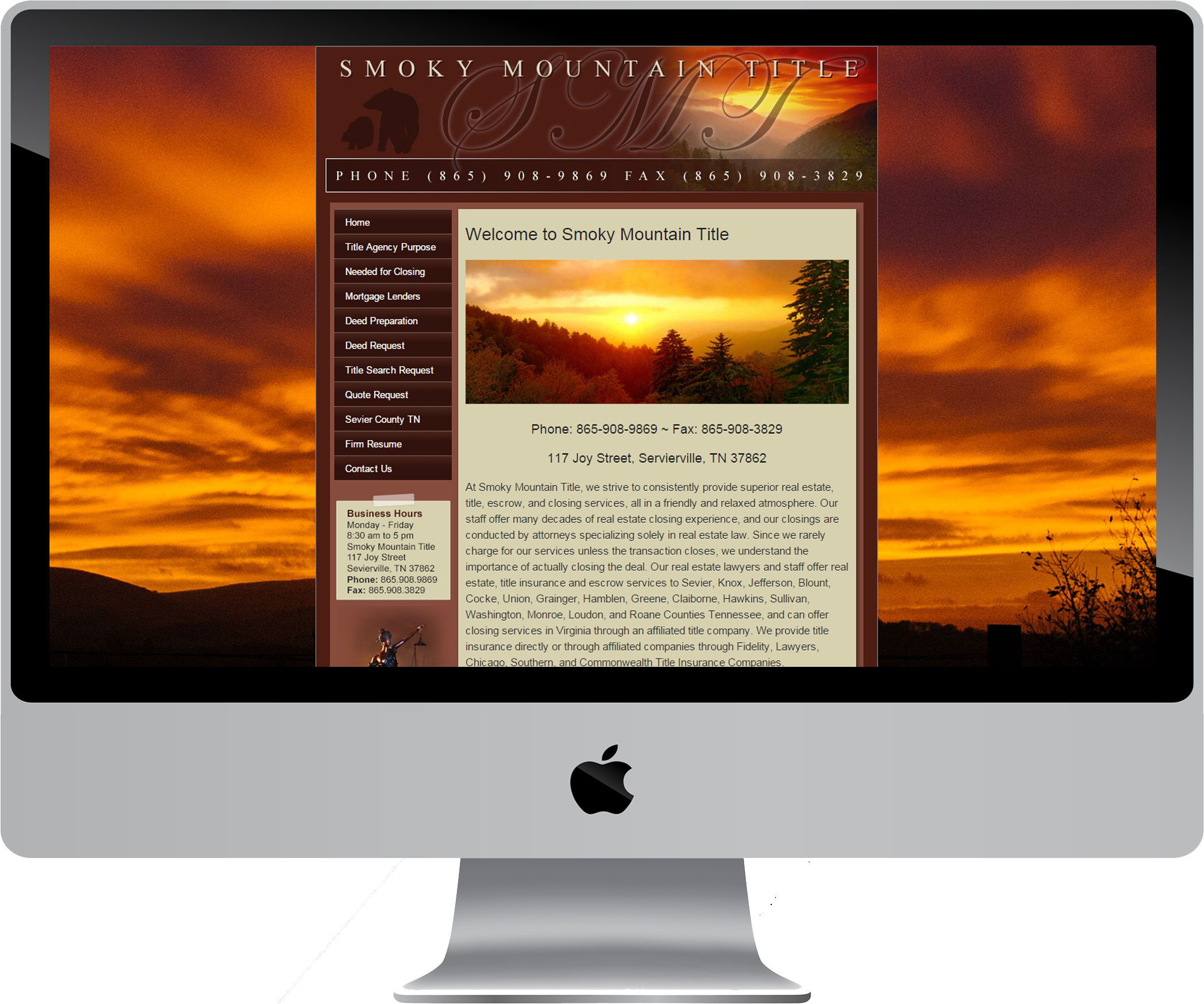 Smoky Mountain Title on a Desktop