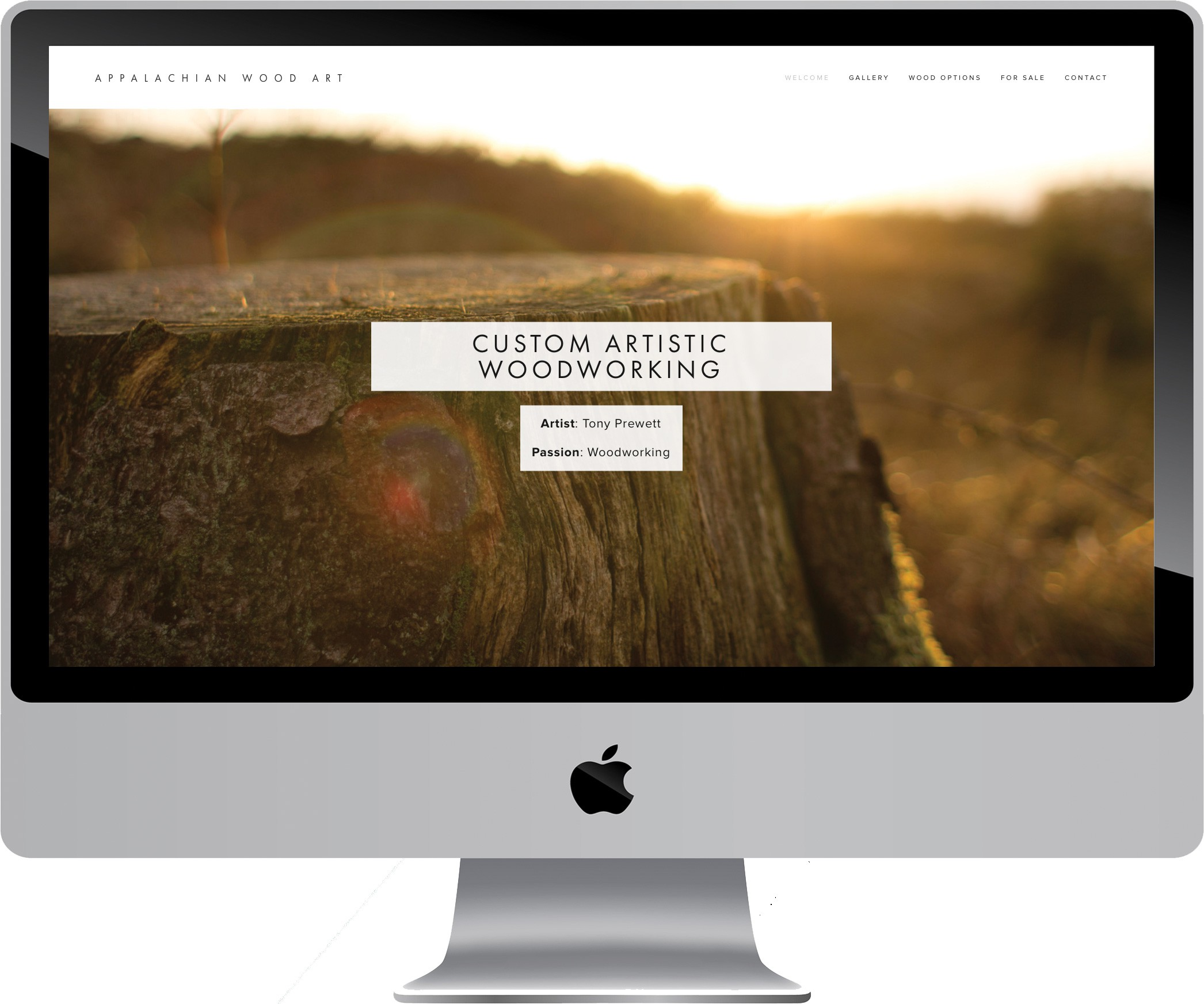 Appalachian Wood Art Web Design on a Desktop