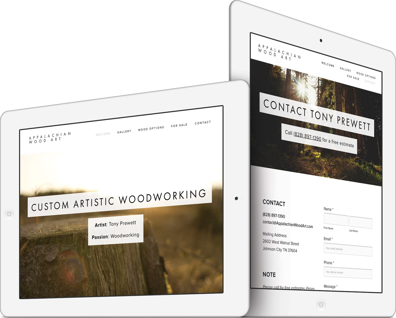 Appalachian Wood Art Web Design on an iPad