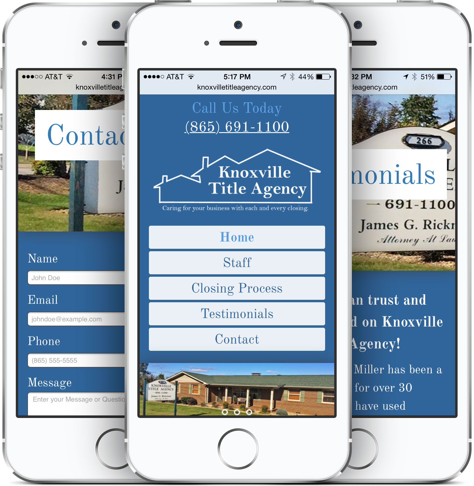 Knoxville Title Agency on a Smartphone