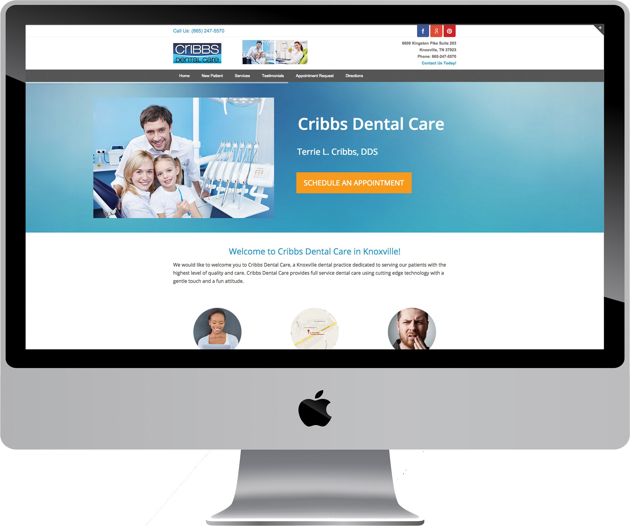 Cribbs Dental Care on a Desktop