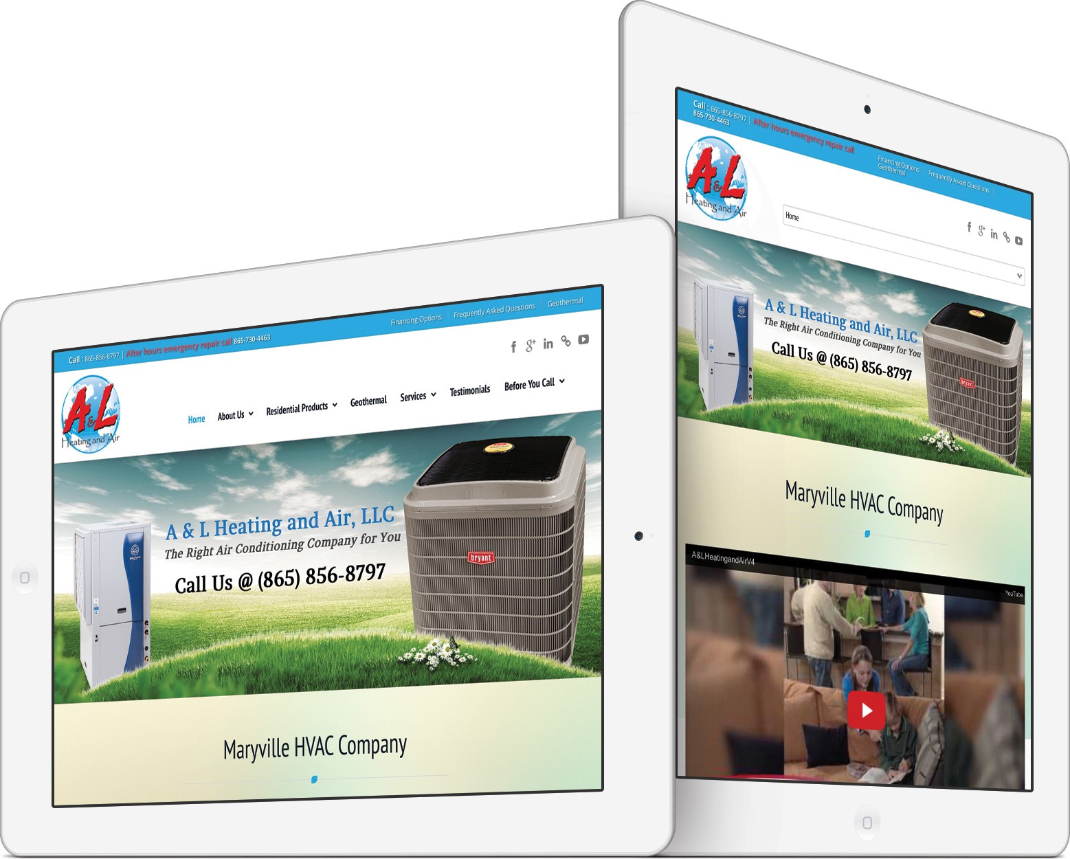 A & L Heating and Air on an iPad