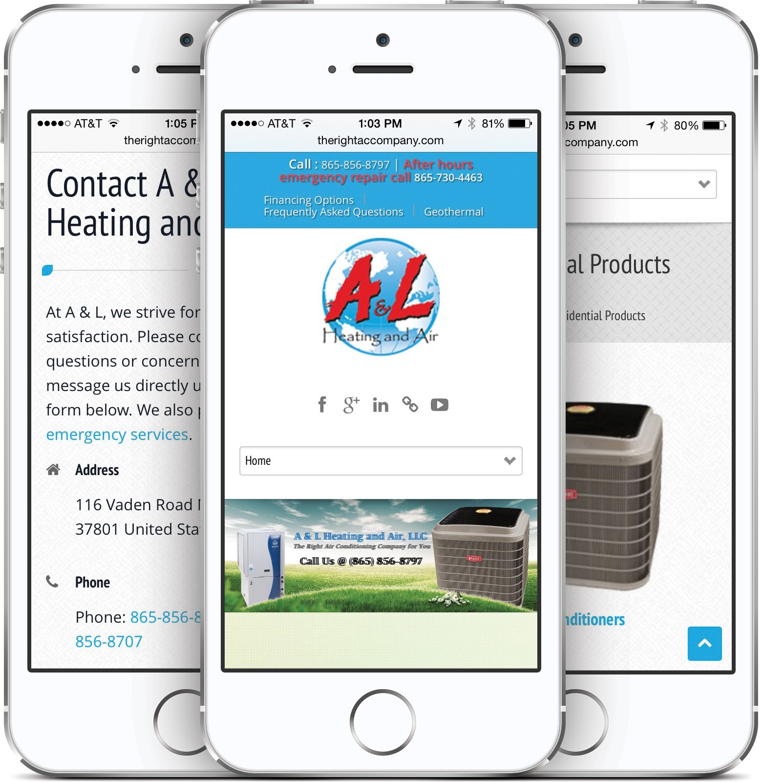 A & L Heating and Air on an iPhone