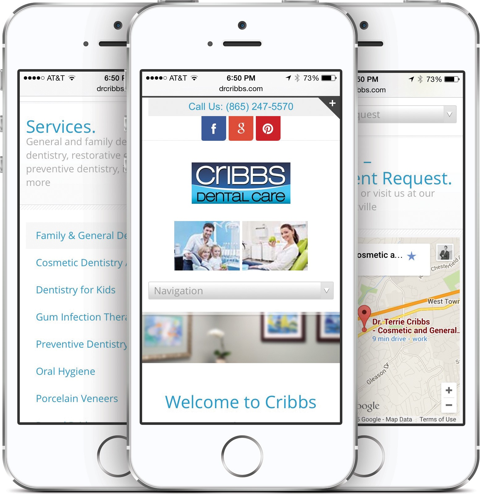 Cribbs Dental Care on an iPhone