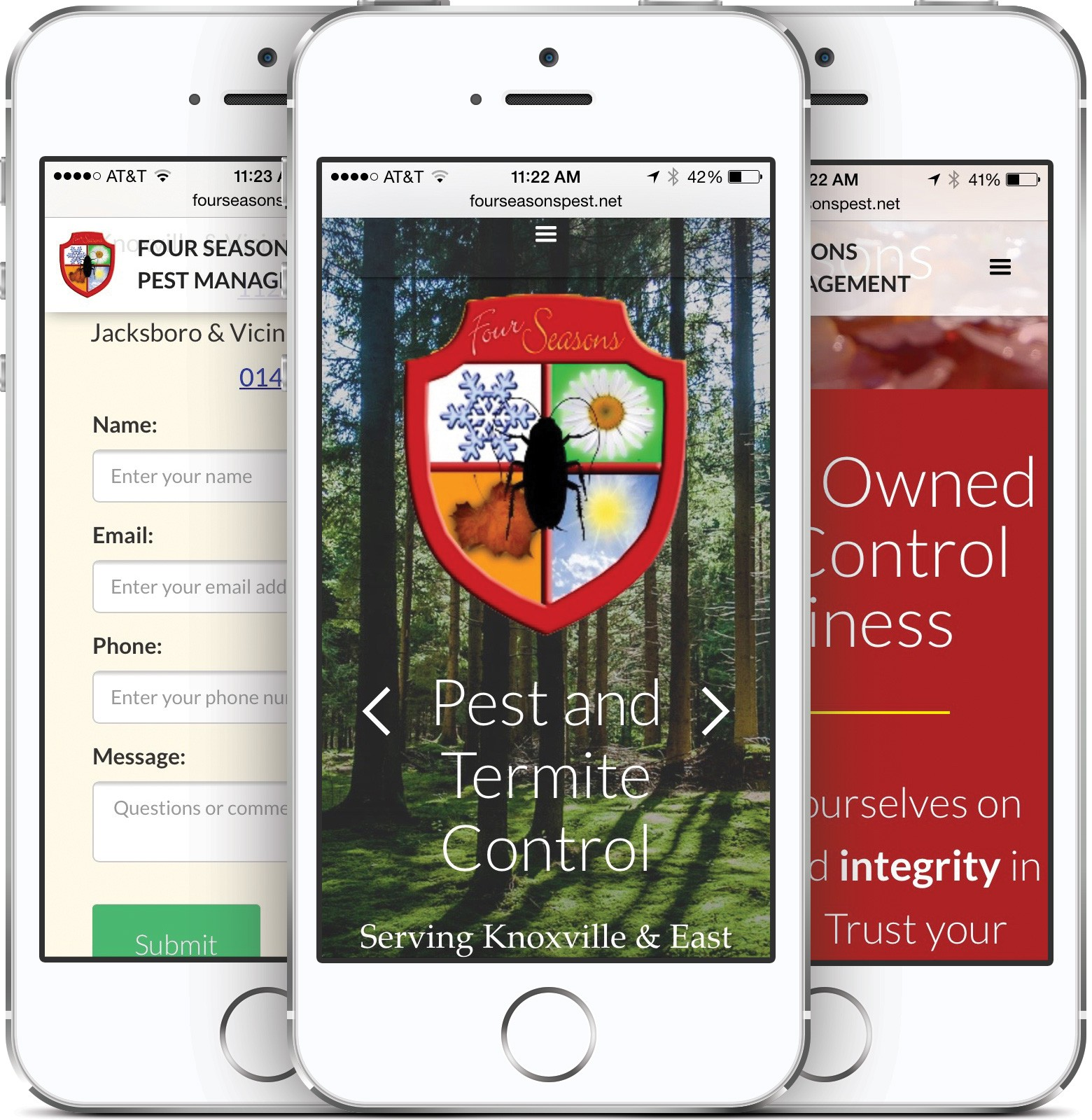 Four Seasons Pest Management on an iPhone