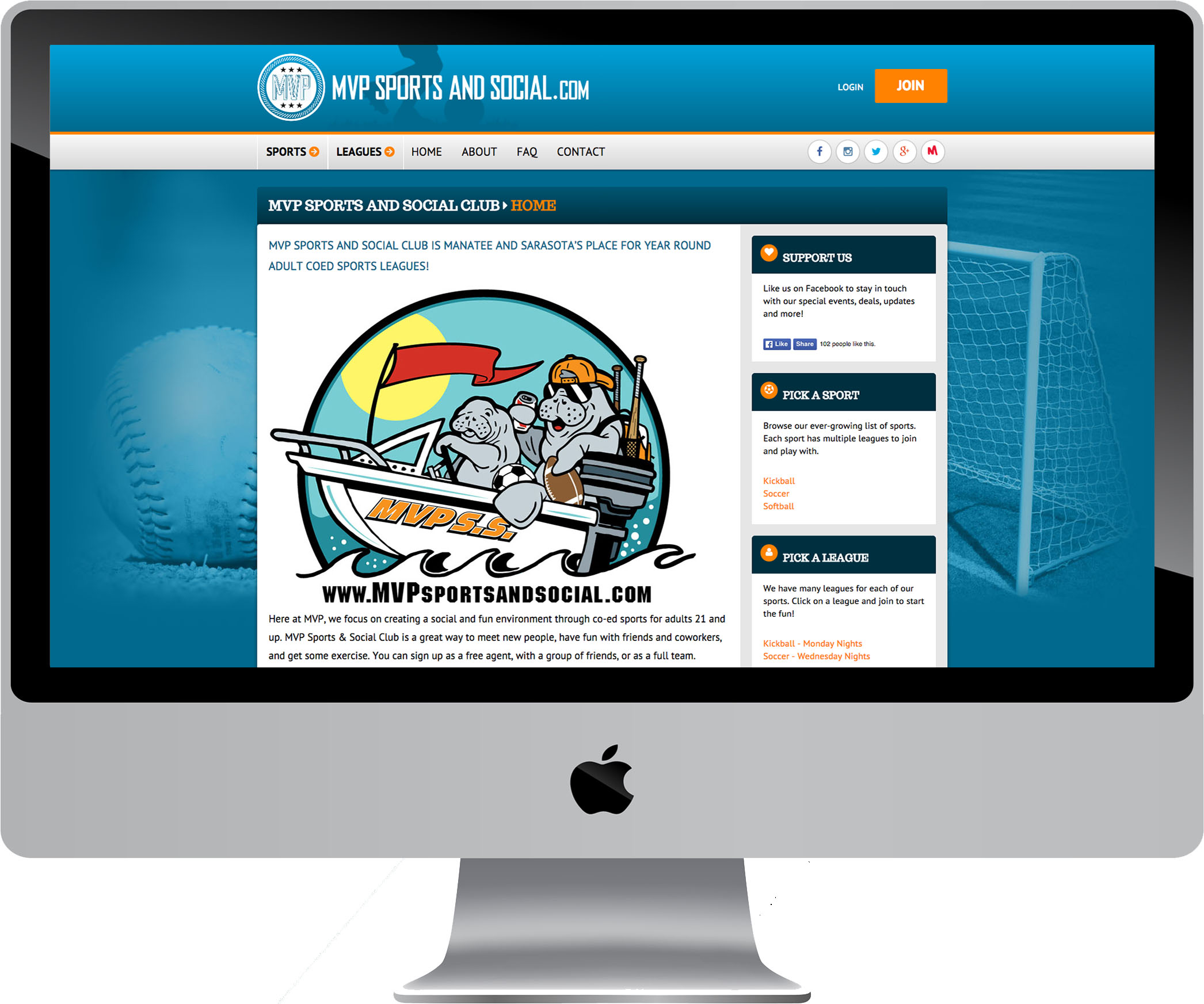 MVP Sports and Social Club on a Desktop