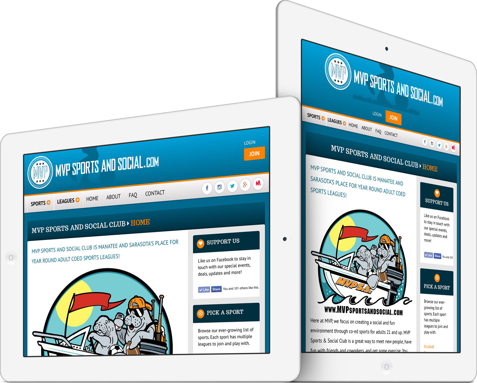 MVP Sports and Social Club Responsive Web Design on an iPad