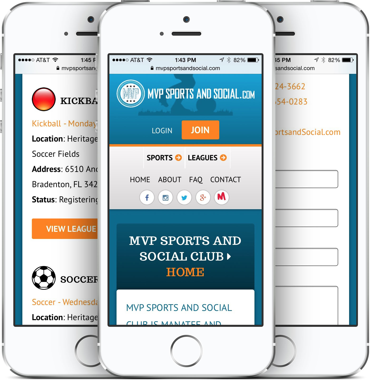 MVP Sports and Social Club Responsive Web Design on an iPhone