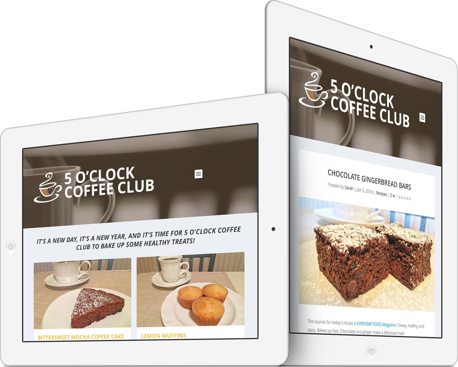 5 O'Clock Coffee Club Responsive Web Design on an iPad