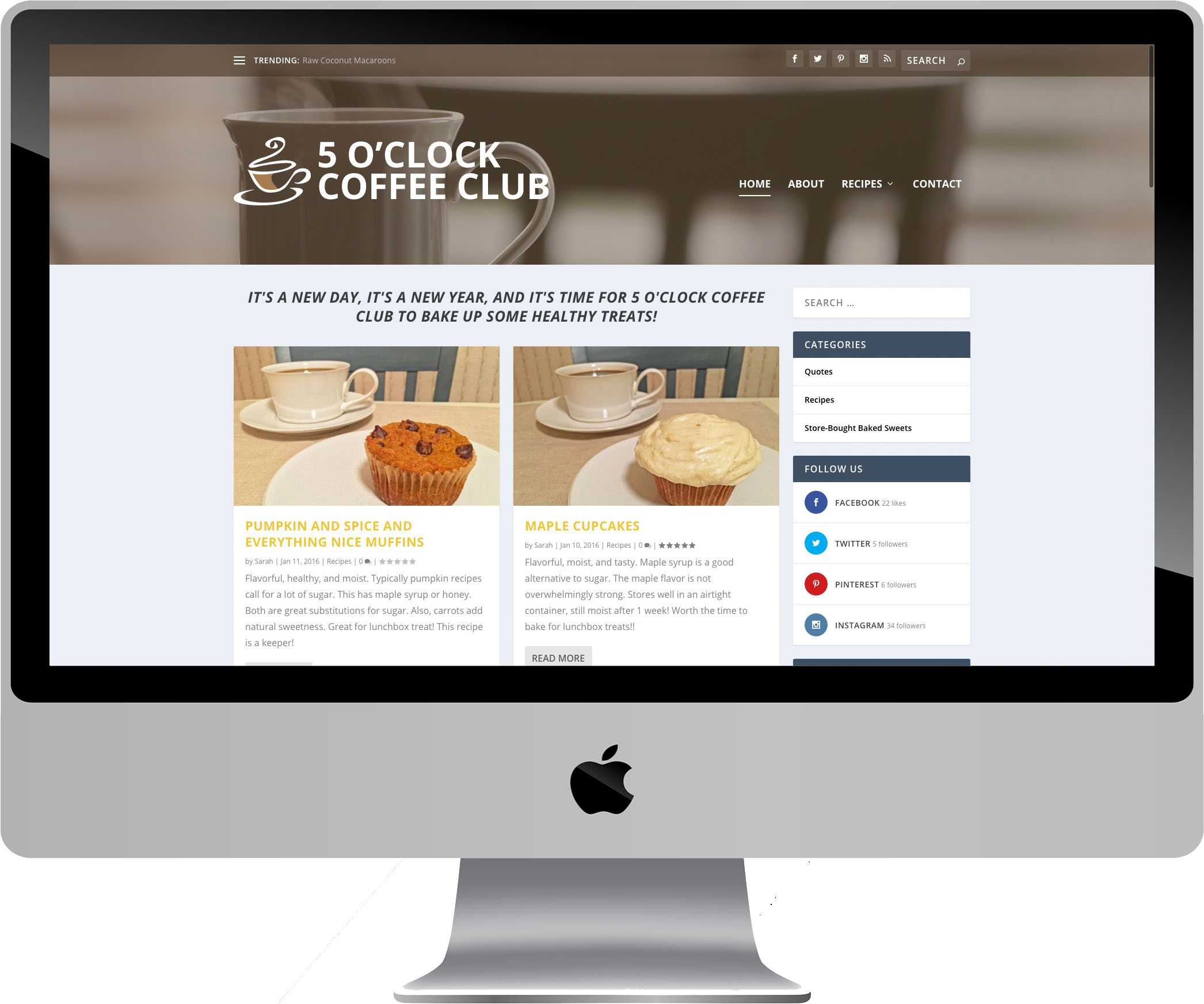 5 O'Clock Coffee Club Website Design on a Desktop
