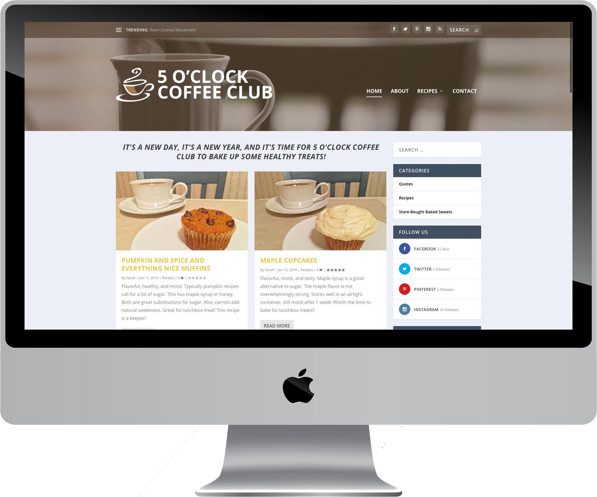 5 O'Clock Coffee Club Website Design on a Desktop