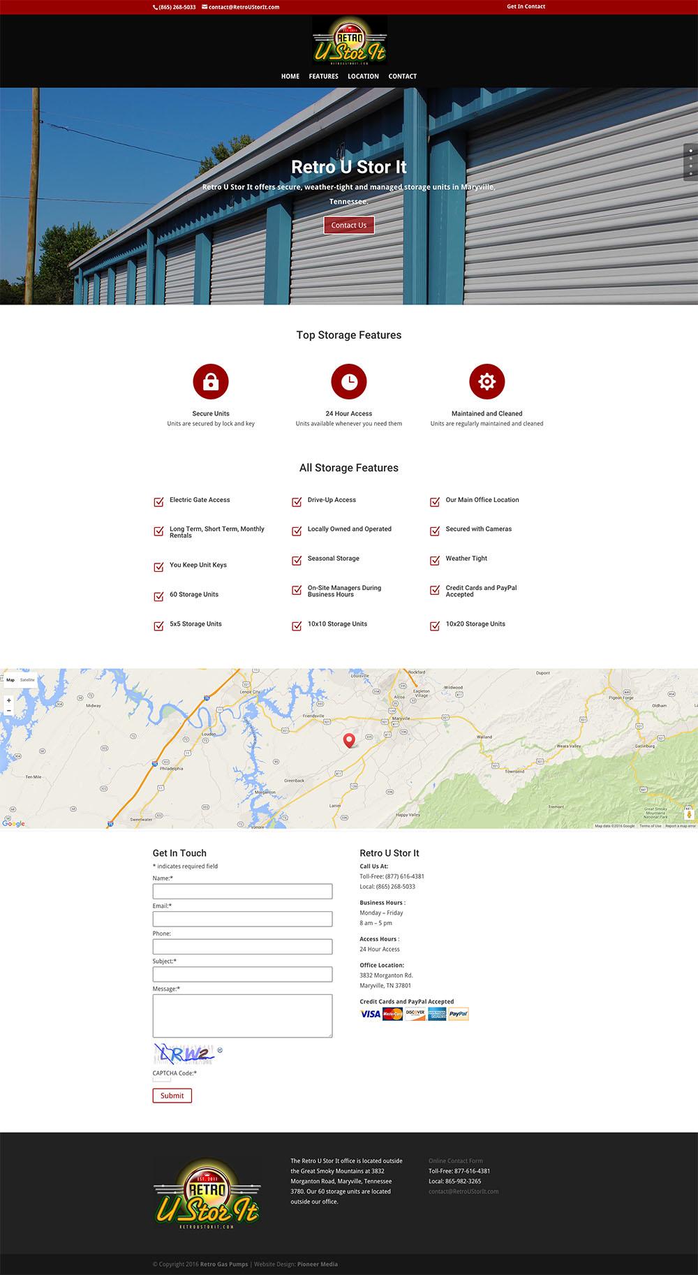Retro U Stor It One-Page Web Design