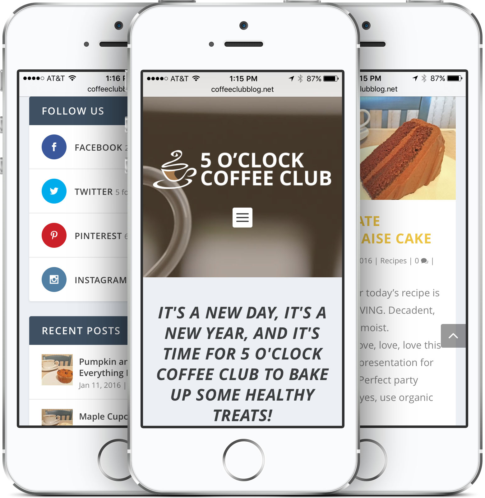 5 O'Clock Coffee Club Responsive Web Design on an iPhone