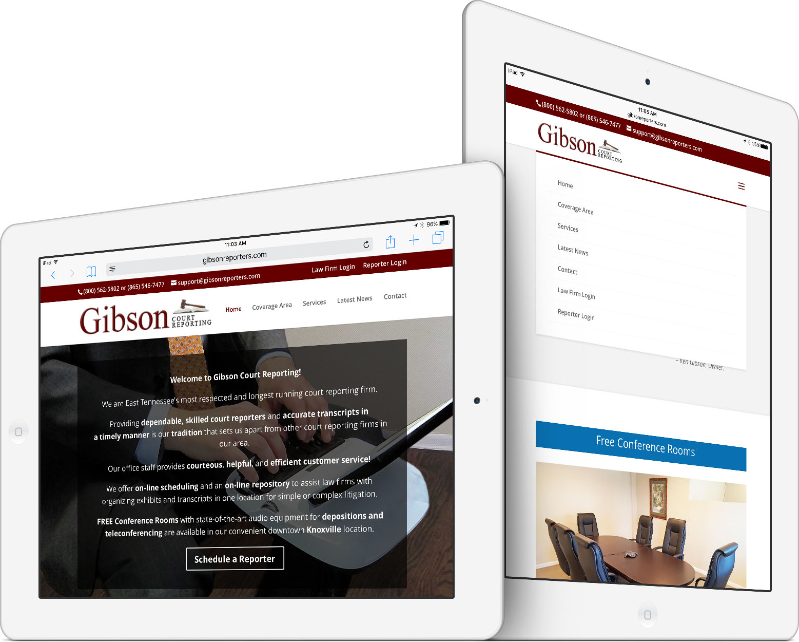 Gibson Court Reporting Responsive Web Design