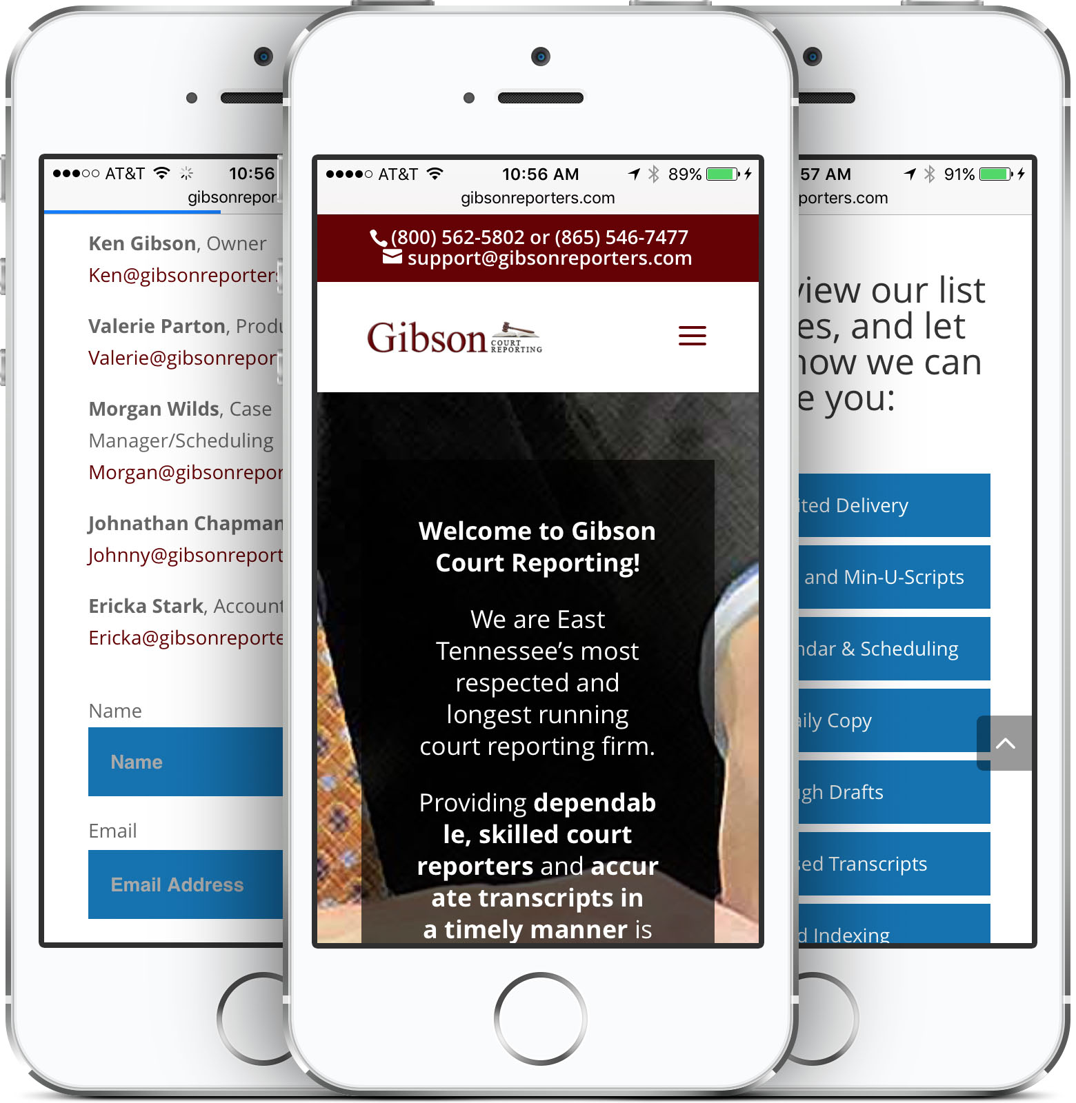 Gibson Court Reporting Mobile-Friendly Site