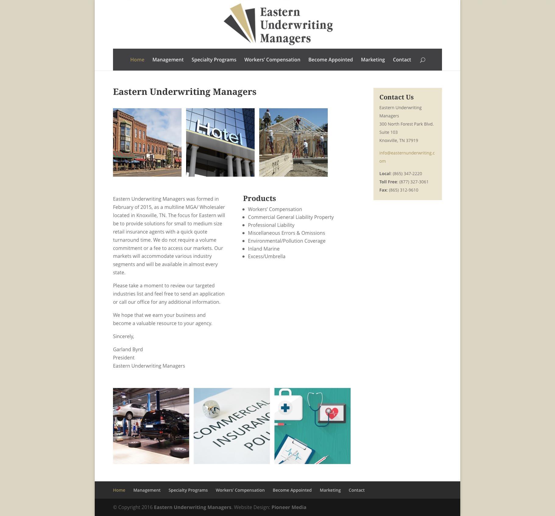 Eastern Underwriting Managers Website Design