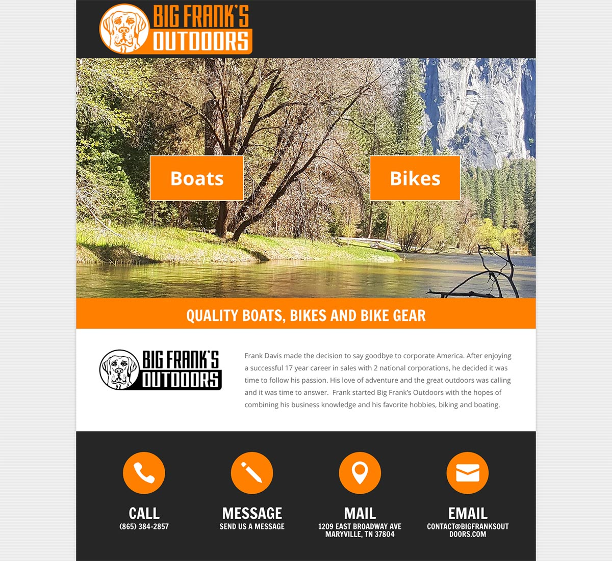 Big Frank's Outdoors Website Design Screenshot