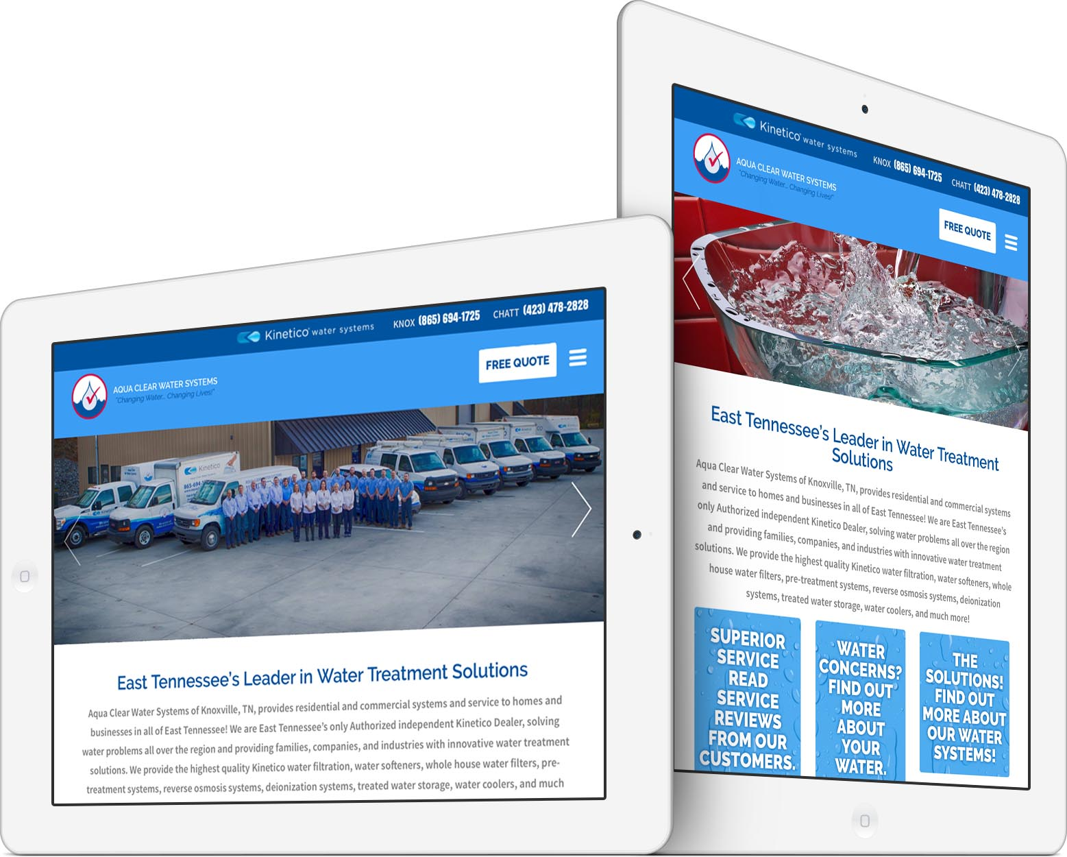 Aqua Clear Water Systems Responsive Web Design on Tablet iPad
