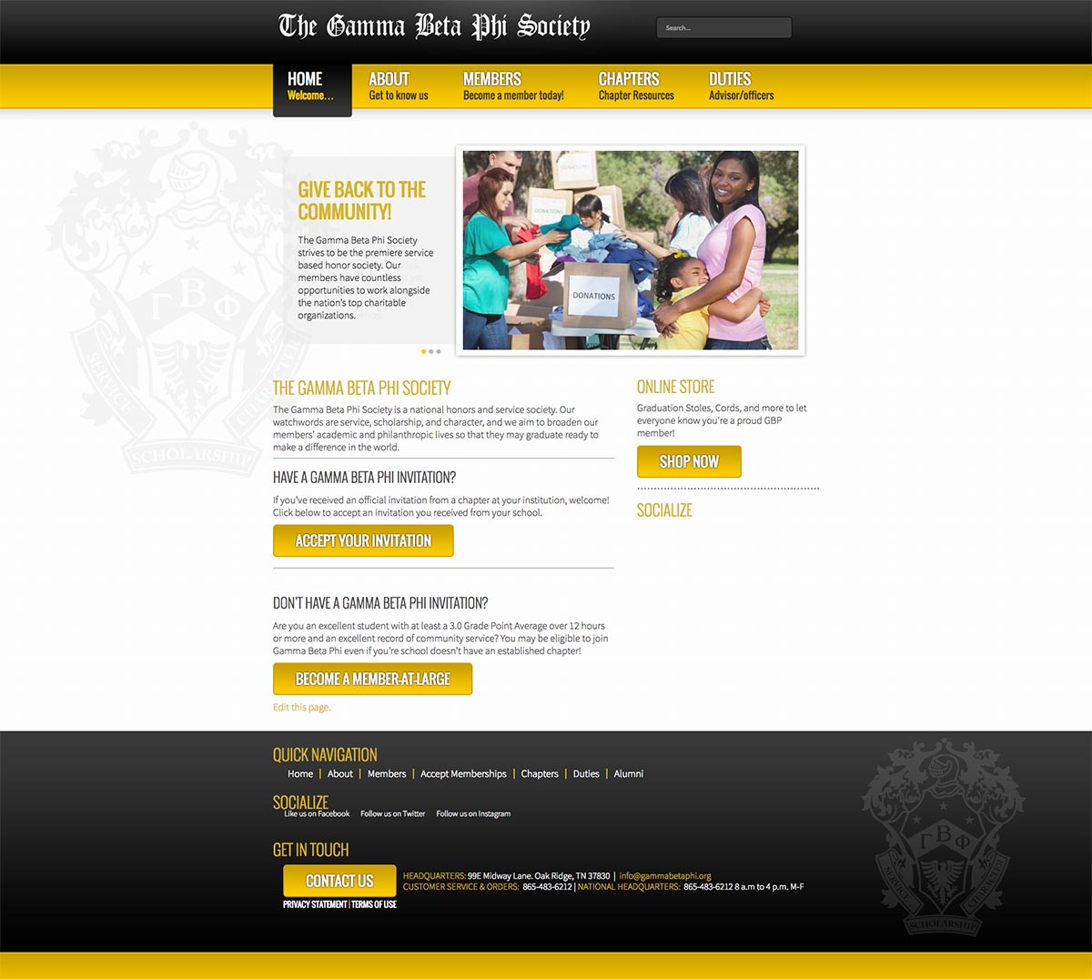 Gamma Beta Phi Honor Society Website Design