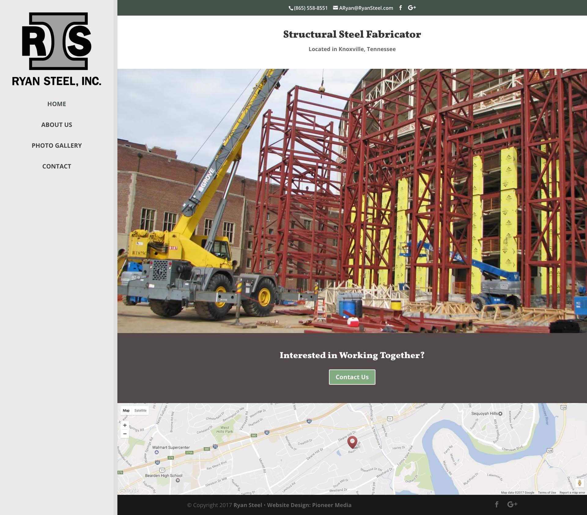 Ryan Steel Website Homepage Screenshot