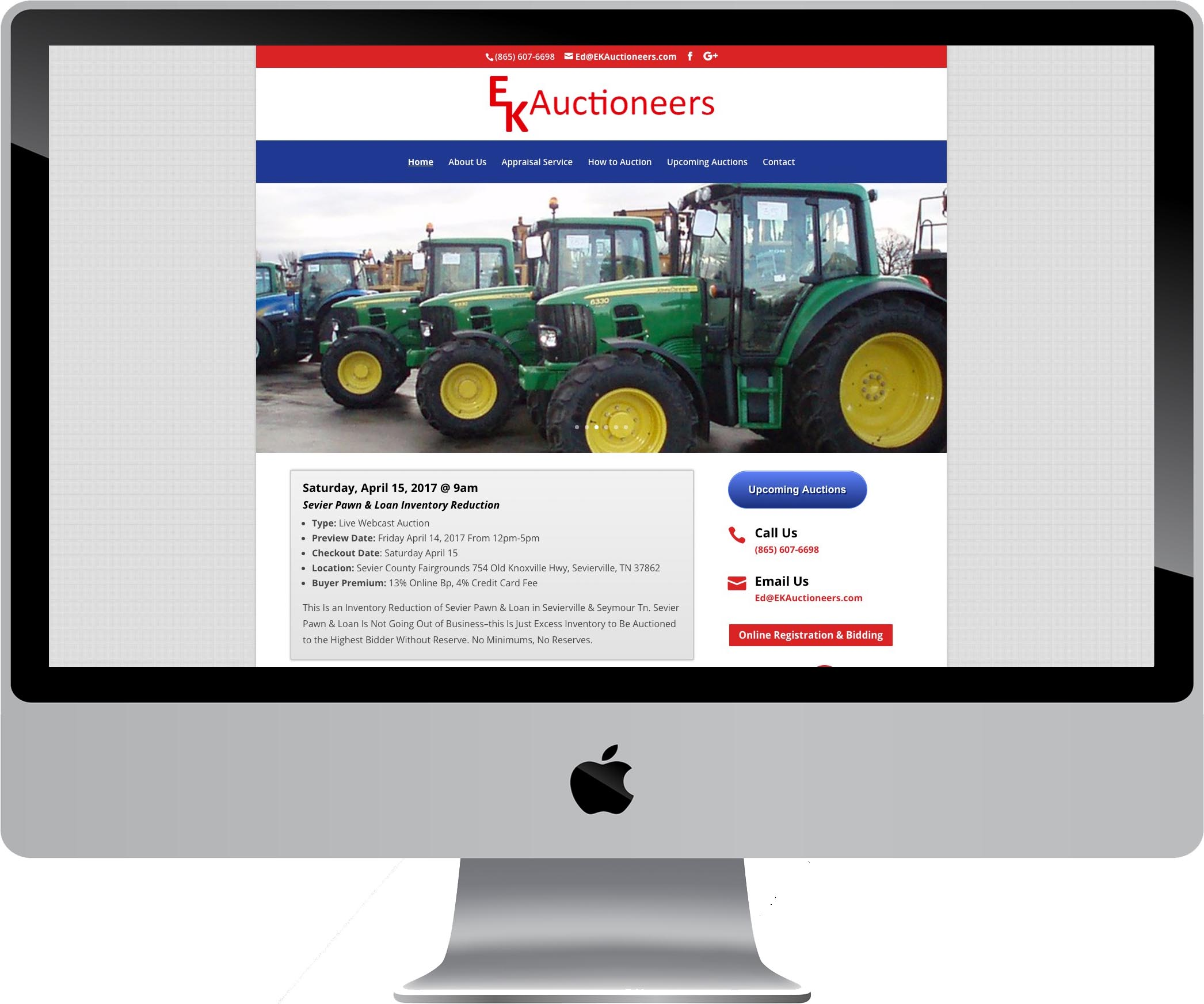 EK Auctioneers Website Design