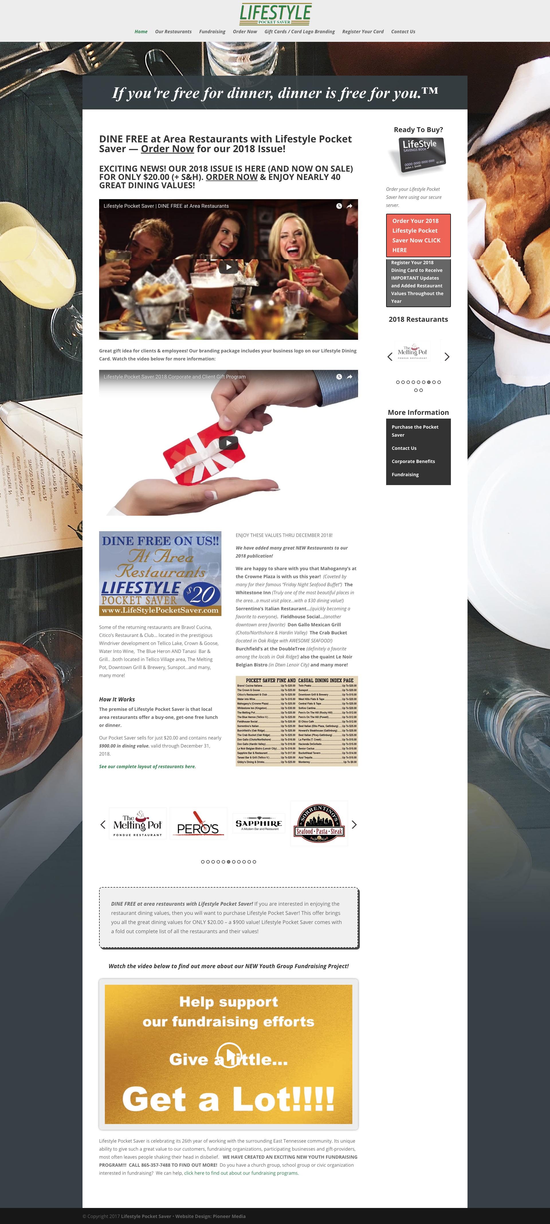 Lifestyle Pocket Saver Homepage Screenshot