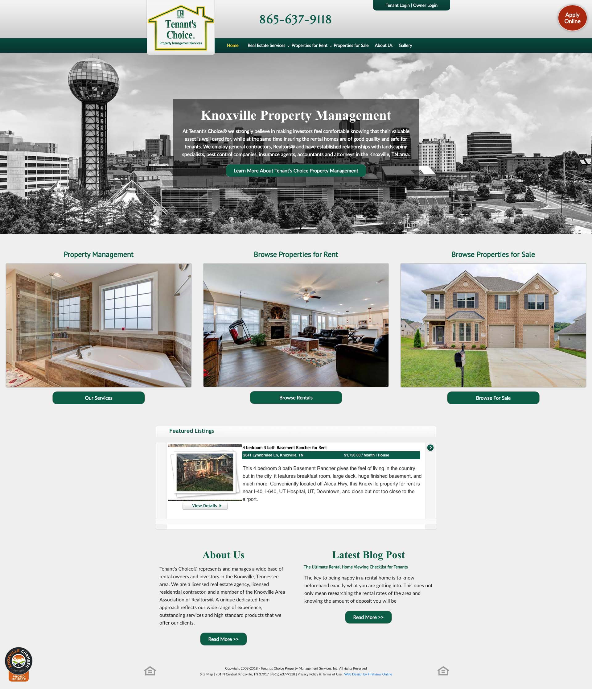 Tenant's Choice Website Design
