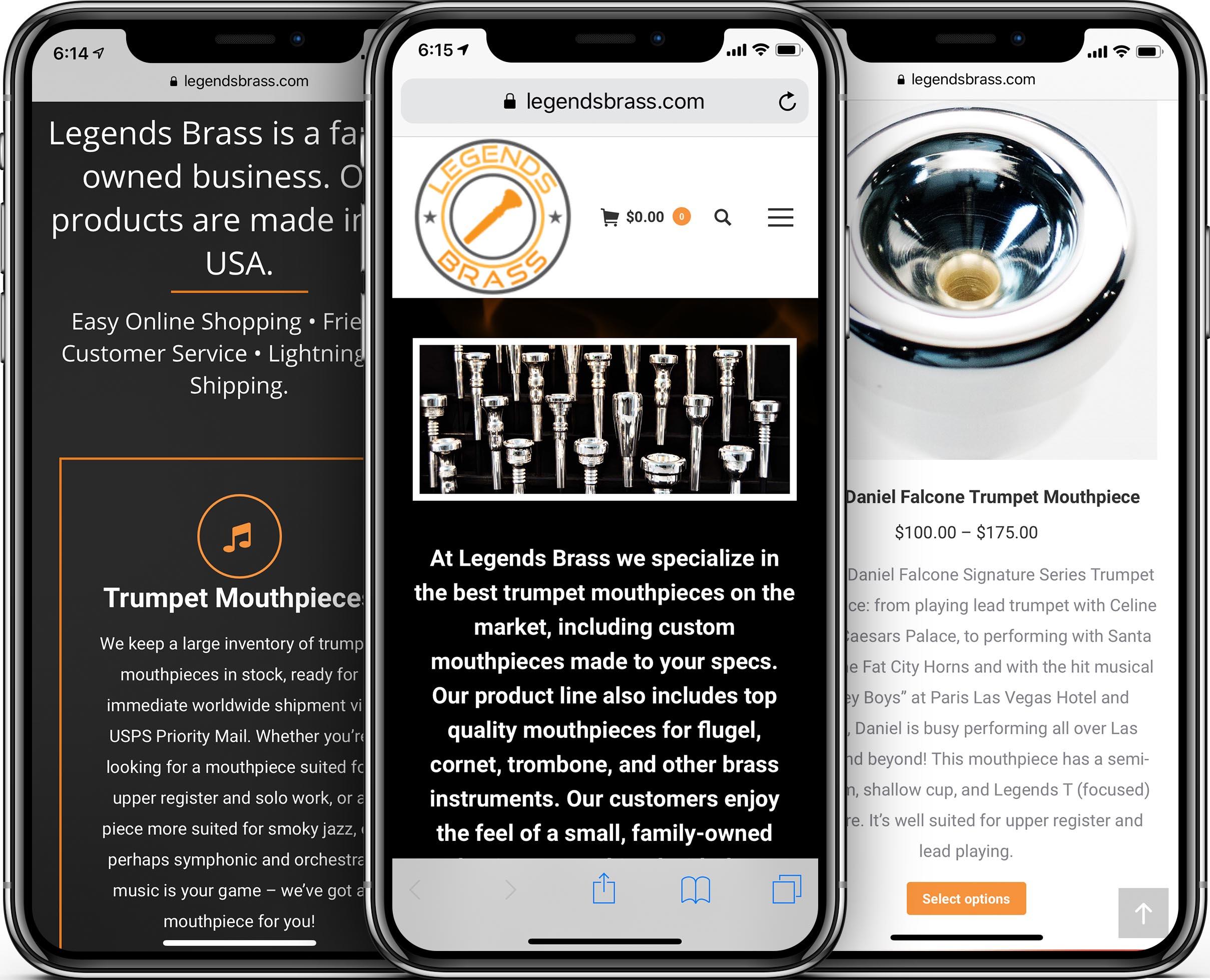 Legends Brass Mobile-Friendly Web Design