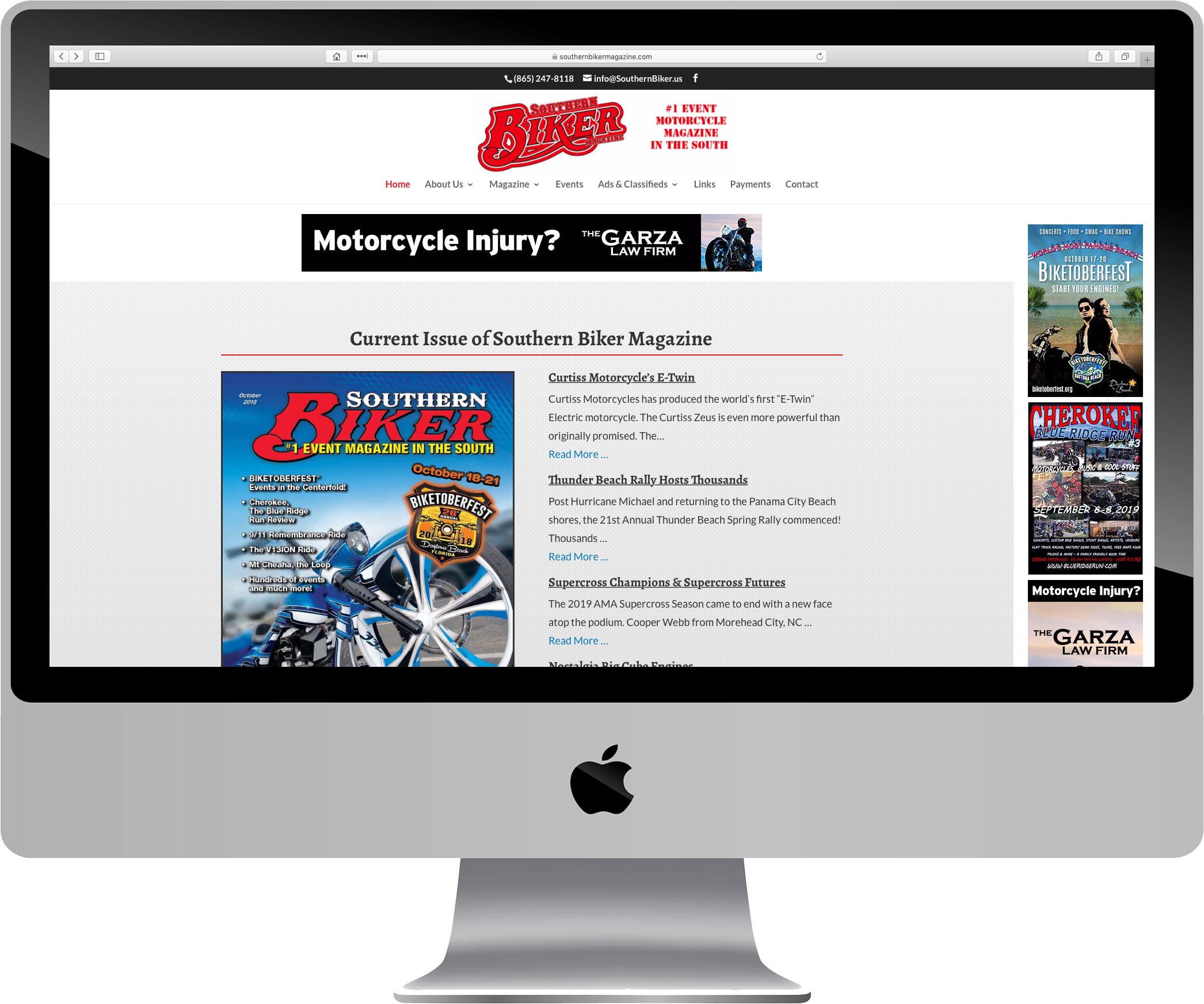Southern Biker Magazine Website Design