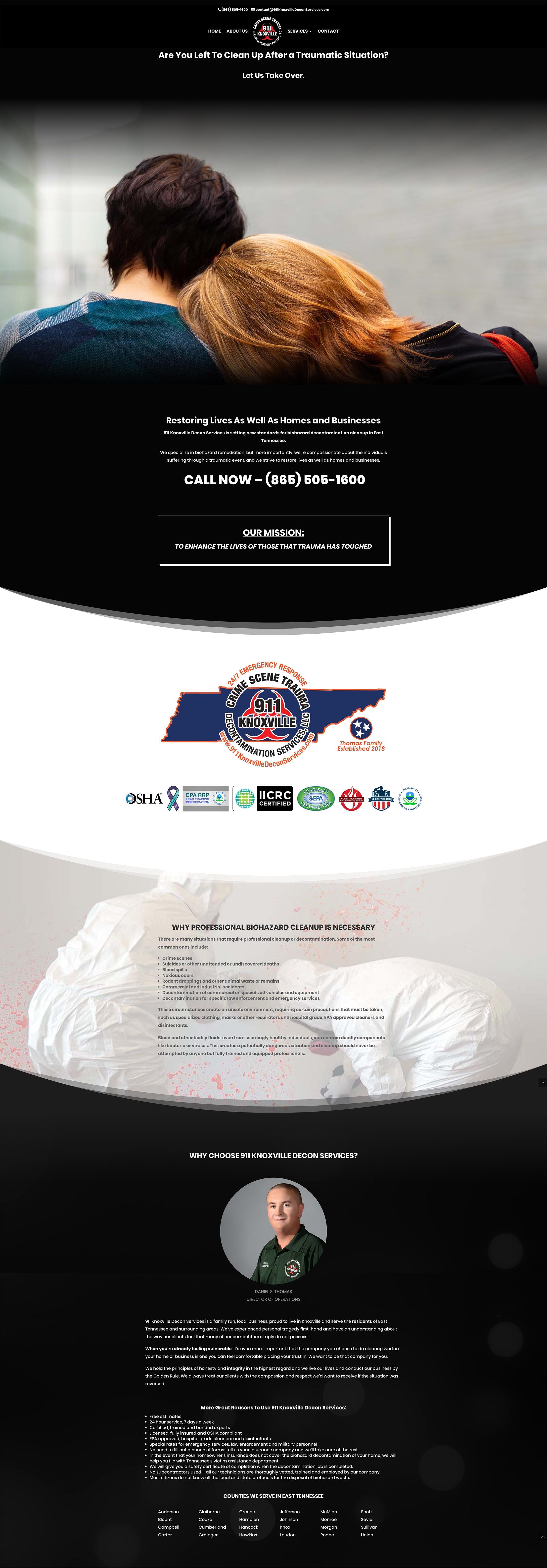 911 Decontamination Services Homepage Screenshot