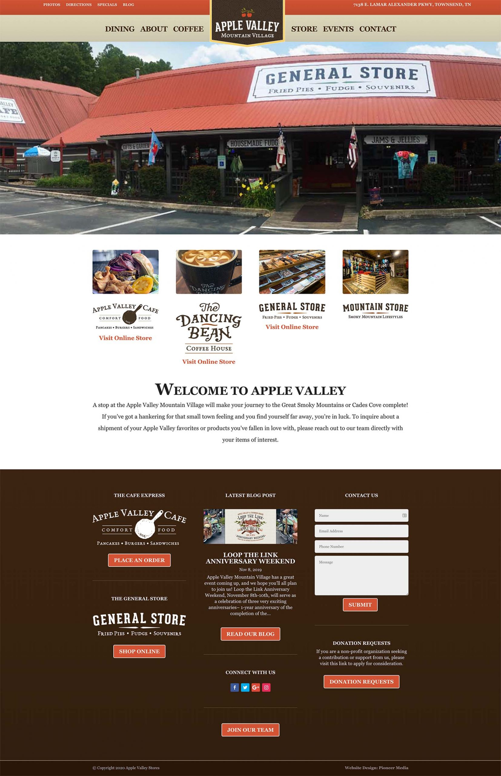 Apple Valley Stores Homepage Screenshot