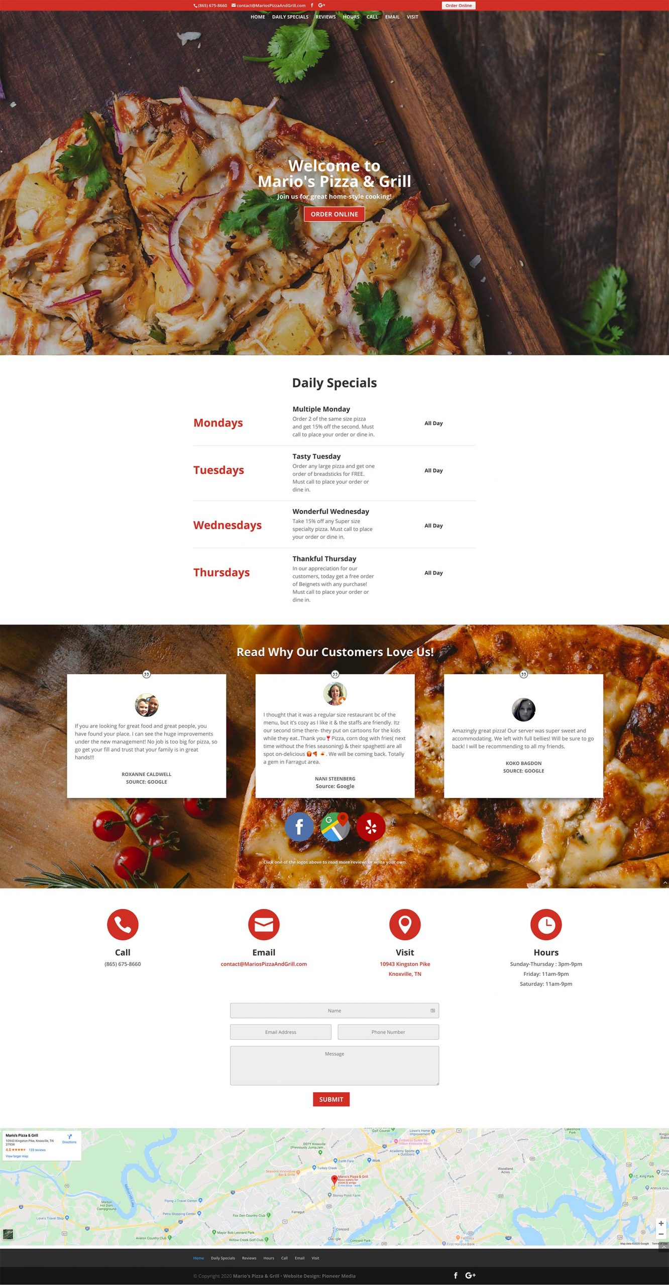 Marios Pizza Homepage Screenshot