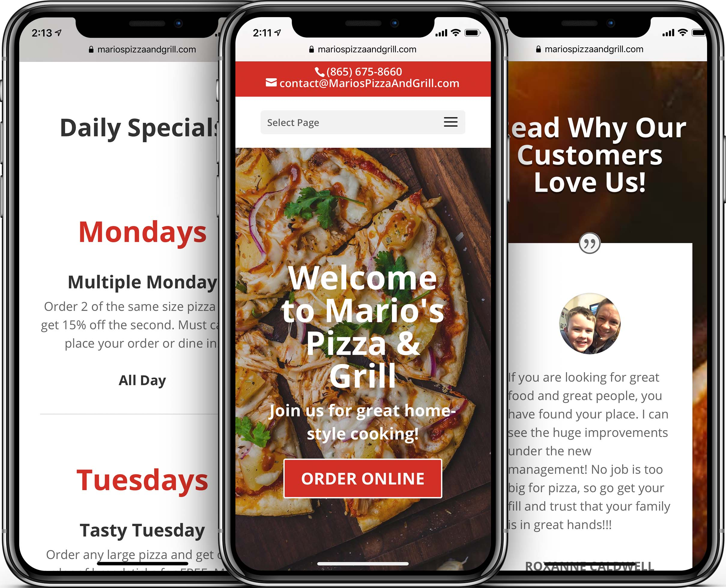 Mario's Pizza Mobile-Friendly Web Design