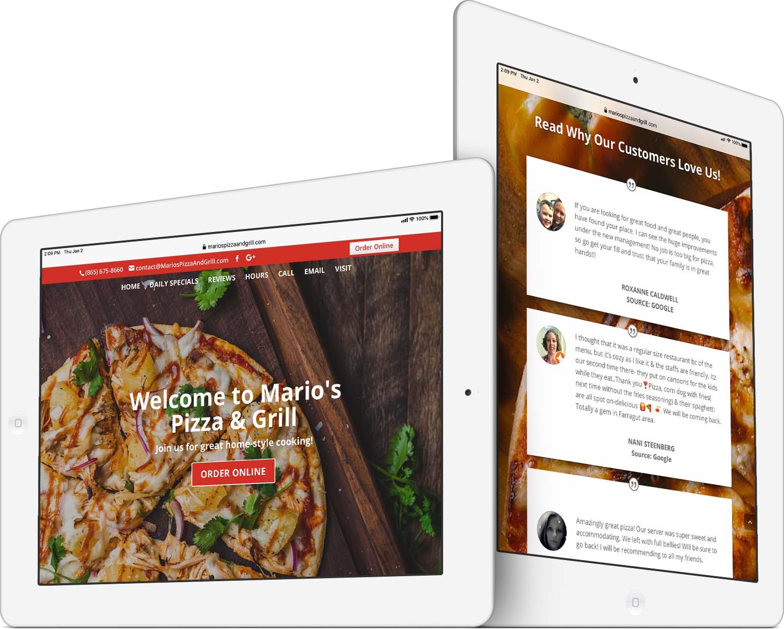 Mario's Pizza Restaurant Web Design
