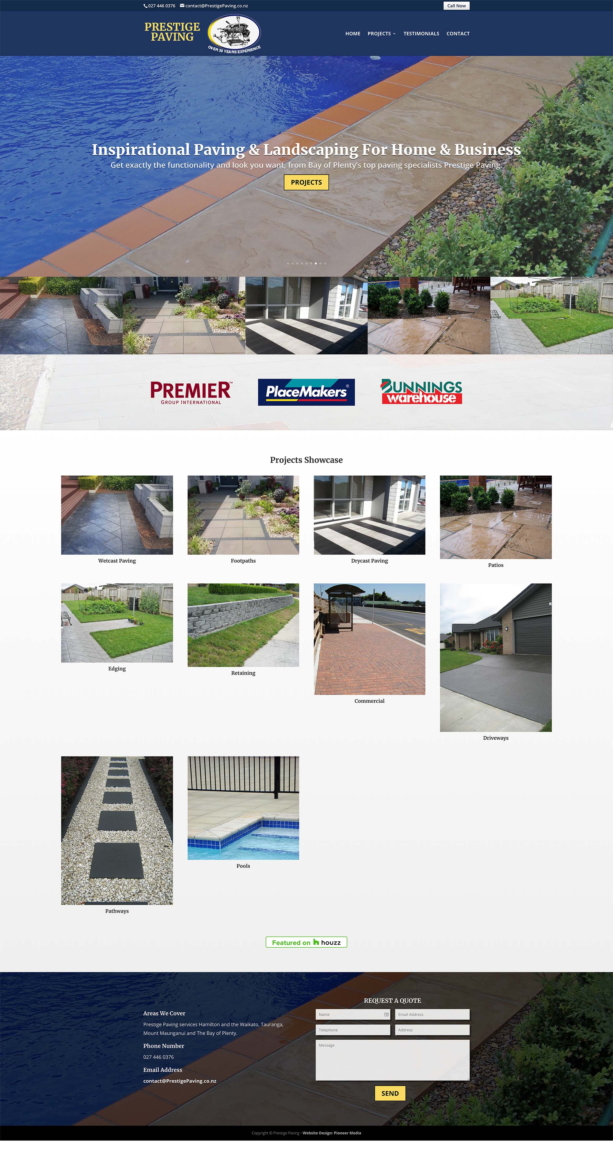 Prestige Paving Homepage Screenshot