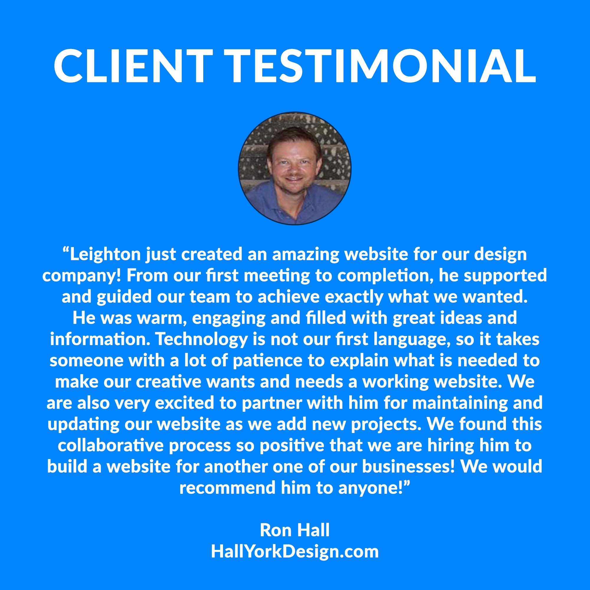 Hall York Design Website Testimonial