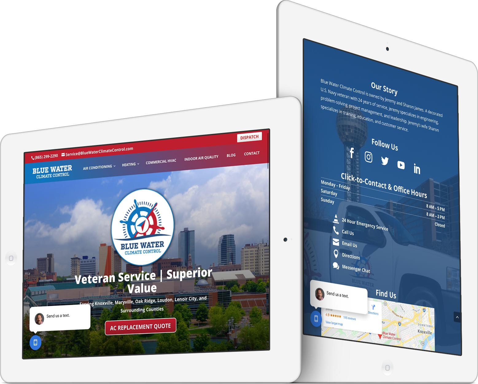 Blue Water Climate Control Responsive Web Design