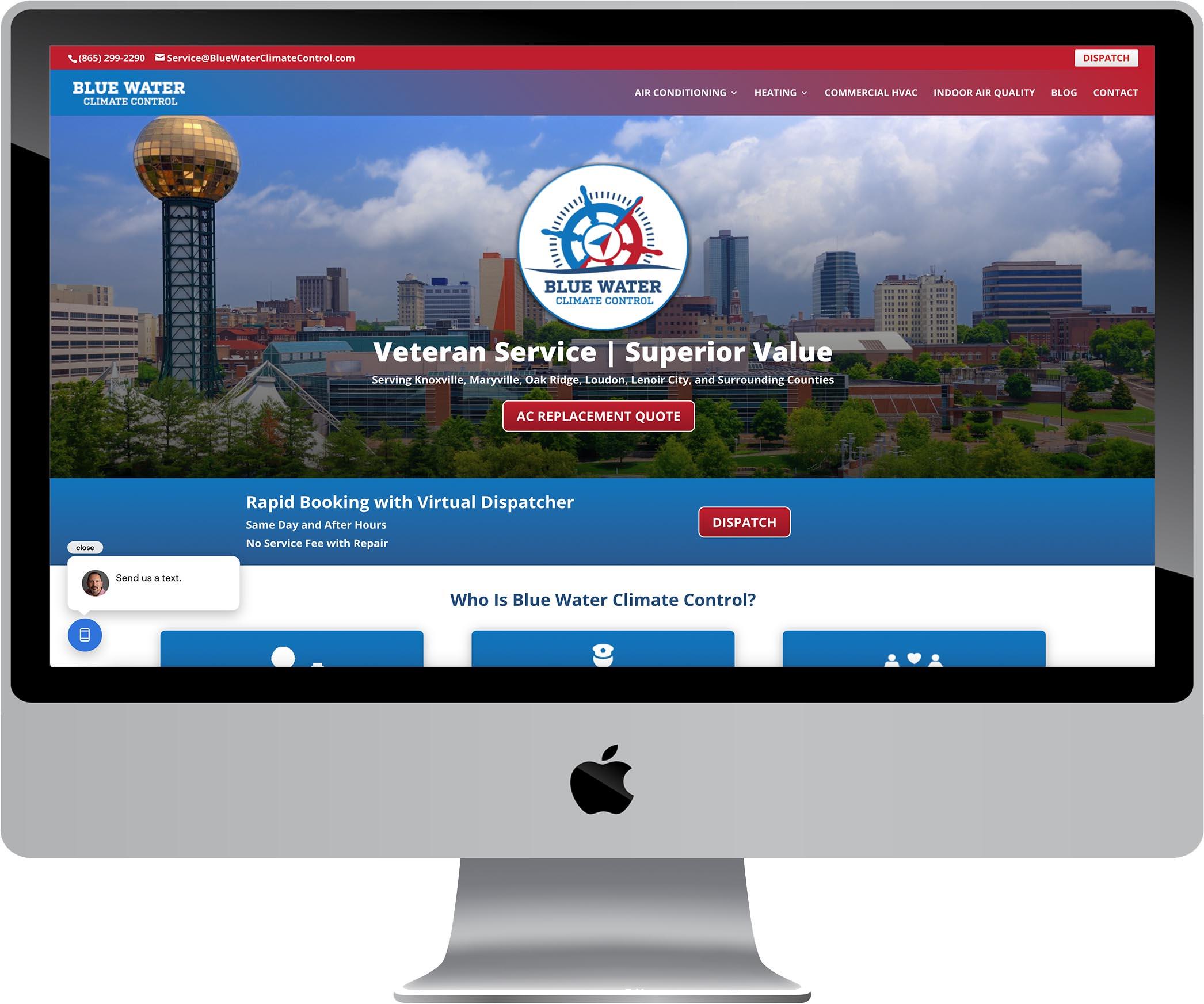 Blue Water Climate Control Website Design
